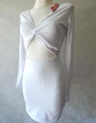 Motel Śnieżnobiała sukienka WYCIĘCIE 36 S...