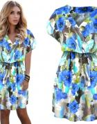 Fantastyczna sukienka kimono floral kwiaty vneck...