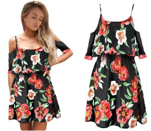 Zwiewna letnia romantyczna sukienka kwiaty boho S M