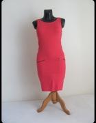 Sukienka na wiosnę i lato malinowa S M elastyczna TROLL