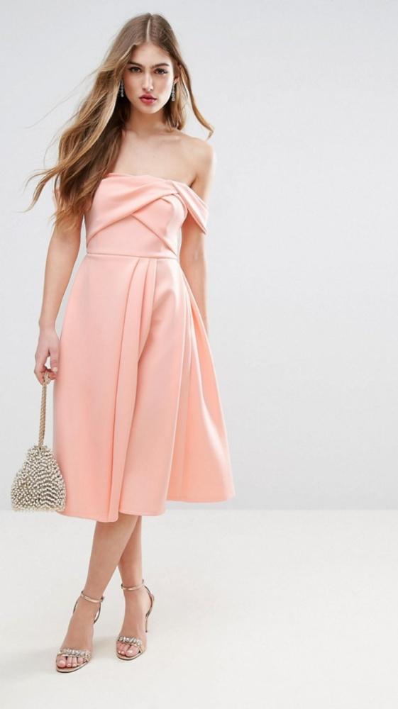 0c69f197d30b4a Suknie i sukienki Sukienka midi ASOS odkryte ramiona rozkloszowana gorset 36