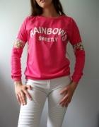 Rózowa bluza fuksja sweter koronka kwiaty S