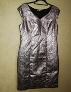 Fioletowa błyszcząca sukienka ołówkowa midi 40 42