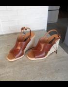 Zara nowe sandały koturny brązowe na koturnie sznurek