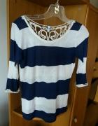 bluzka w pas paski marnarska granatowo biała koronka r S H&M zara