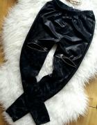 leginsy skórzane getry spodnie czarne ombre zamki push up r Xs ...