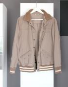 brązowa kurtka bejsbolówka klasyczna brązowa jesień lekka cienk...