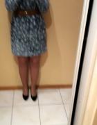 Tunika sukienka jeansowa w kwiatki