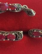 Kolczyki i wisiorek zawieszka markazyty rubiny
