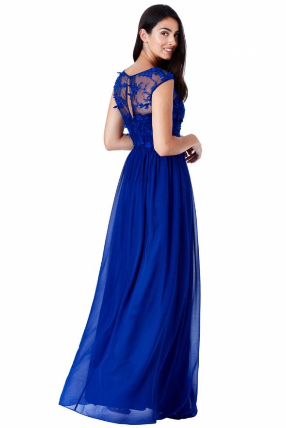 16afc695ad Suknie i sukienki Luksusowa długa kobaltowa sukienka szyfonowa z siateczką  i ozdobami 3D