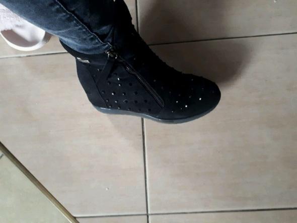 Koturny sneakersy botki CCC zip cekiny w Botki Szafa.pl