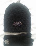 New Look zestaw czapka i rękawiczki z broszką nowe
