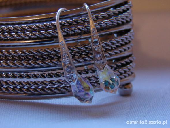 Kolczyki Posrebrzane eleganckie z Kryształkami Swarovskiego