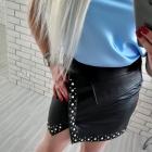 Czarna mini skórzana spódnica