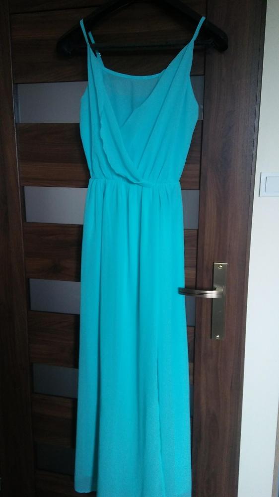 50ccf25f Długa szyfonowa zwiewna morska sukienka 36 w Suknie i sukienki ...