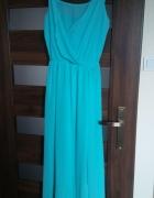 Długa szyfonowa zwiewna morska sukienka 36...