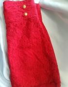 Spódnica czerwona koronkowa z wysokim stanem 38m...