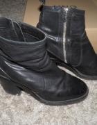 Skórzane buty Mango botki 39 skóra...