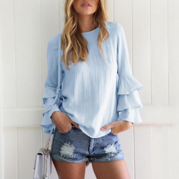 Bluzka koszula falbany długi rękaw błękitna 38 M nowa