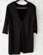 satynowa czarna sukienka HandM z wycięciem na plecach pasek koraliki S