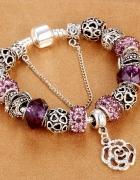 Bransoletka modułowa charms crystal purple 19cm