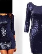 Glamorous efektowna sukienka CEKINY kobaltowa roz 36...
