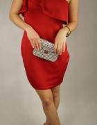 CZerwona elegancka suknia sukienka z falbaną...