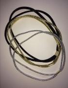 Opaski do włosów zestaw gumki złota srebrna czarna błyszczące e...
