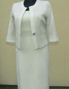 elegancki kremowy komplet sukienka i żakiet 42 xl