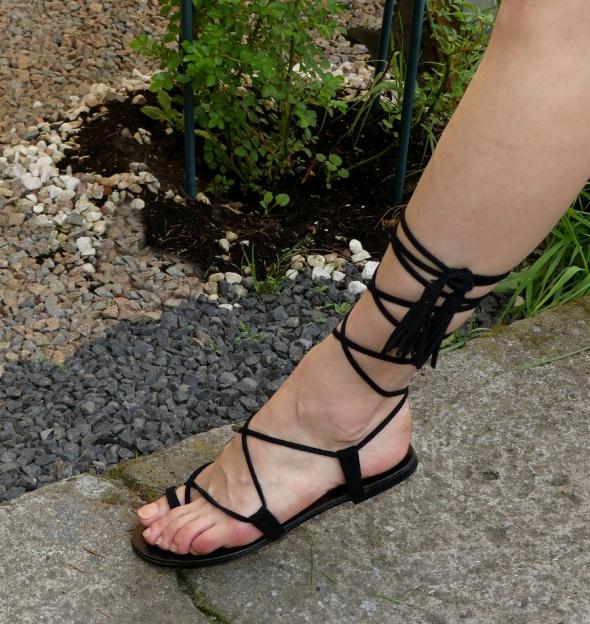 Sandały Parfois czarne sandałki rzymianki skóra rozm 38