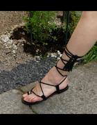 Parfois czarne sandałki rzymianki skóra rozm 38