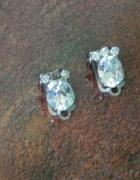 kolczyki klipsy metalowe z dużą cyrkonia