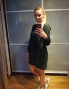 sukienka oversize butelkowa zieleń