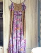 Długa sukienka maxi na lato fiolet wzory 44...
