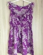 Fioletowa sukienka w kwiatuszki new look M 38