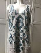 Cream błękitna suknia z cekinami i koronką OKAZJA...