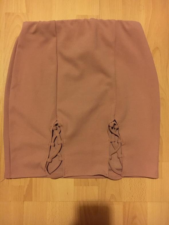 Spódnice Spódnica pudrowy róż rozcięcia sznurowania