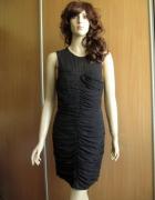 H&M czarna wieczorowa sukienka marszczona 36