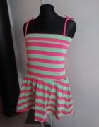 sukienka w paski 122 różowa zielona...