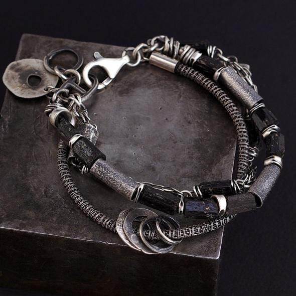 Ewa Lompe raw black tourmaline sterling silver bracelet