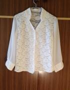 Biała koszula Koronkowa przeźroczyste rękawy XS S...