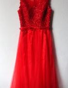 Czerwona sukienka maxi imprezowa studniówkowa weselna r S...