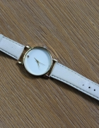 biały elegancki zegarek damski skórzany