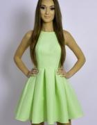 Emo limonka rozkloszowana w zakładki sukienka