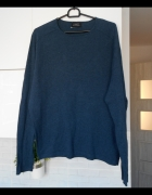 Zara Man granatowy męski sweter basic cienki bawełna