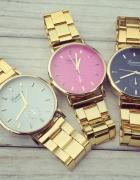 Złoty modny zegarek Geneva bransoleta tarcza złota