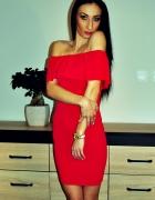 Sukienka CZERWONA z falbnką