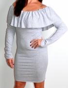 Sukienka szara hiszpanka z falbanką NOWA