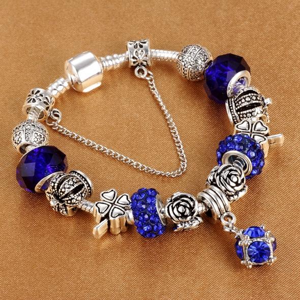 Bransoletki Bransoletka modułowa charms crystal blue rose 19cm