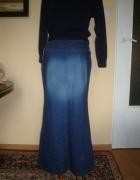 Maxi wąska dżinsowa spódnica do kostek...
